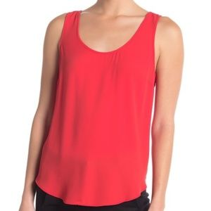 J. Crew Draped Tank Top Red Scoop Neck NEW Large